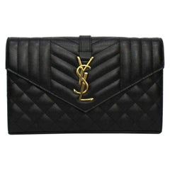 Saint Laurent Black Leather Envelope Bag
