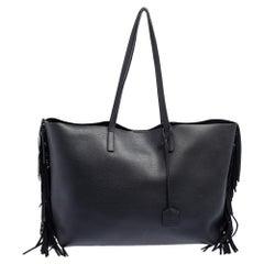 Saint Laurent Black Leather Fringe Large Shopper Tote