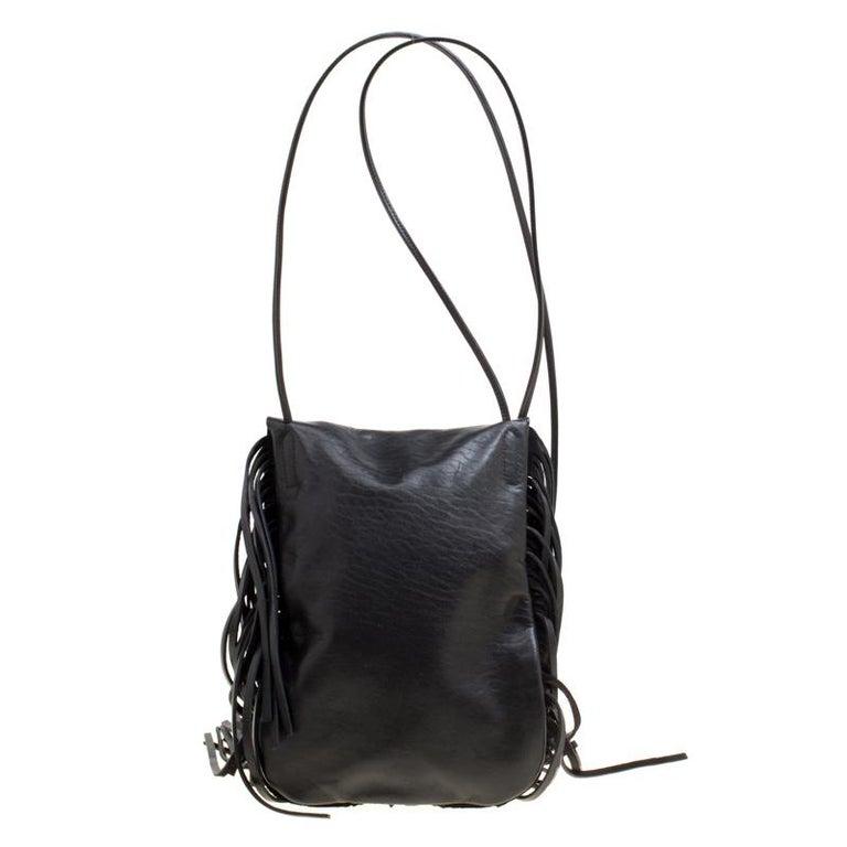 Women's Saint Laurent Black Leather Fringed Anita Crossbody Bag For Sale