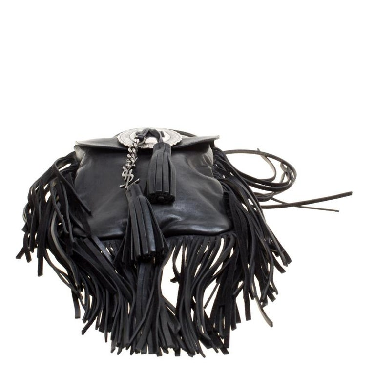 Saint Laurent Black Leather Fringed Anita Crossbody Bag For Sale 1