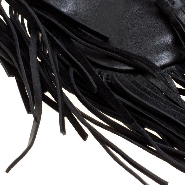 Saint Laurent Black Leather Fringed Anita Crossbody Bag For Sale 5
