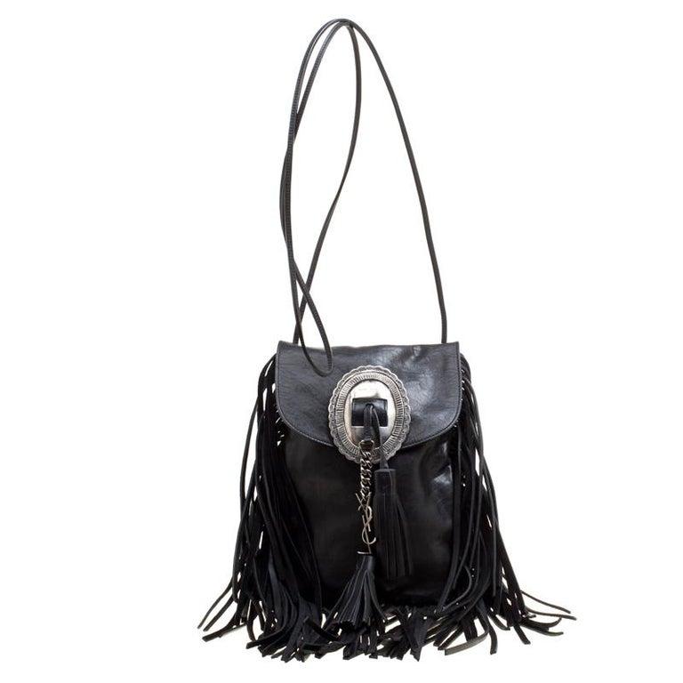 Saint Laurent Black Leather Fringed Anita Crossbody Bag For Sale