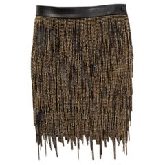SAINT LAURENT black leather & gold BEADED FRINGE Mini Skirt 36 XS
