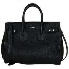 Saint Laurent Black Leather Grained Calfskin Small Supple Sac De Jour Bag
