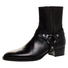 Saint Laurent Black Leather Harness Ankle Boots Size 42