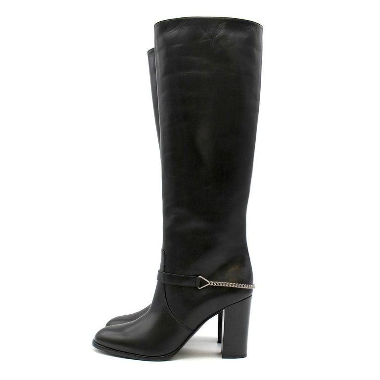 Women's Saint Laurent Black Leather Long Boots w/ Silver Chain Trim For Sale