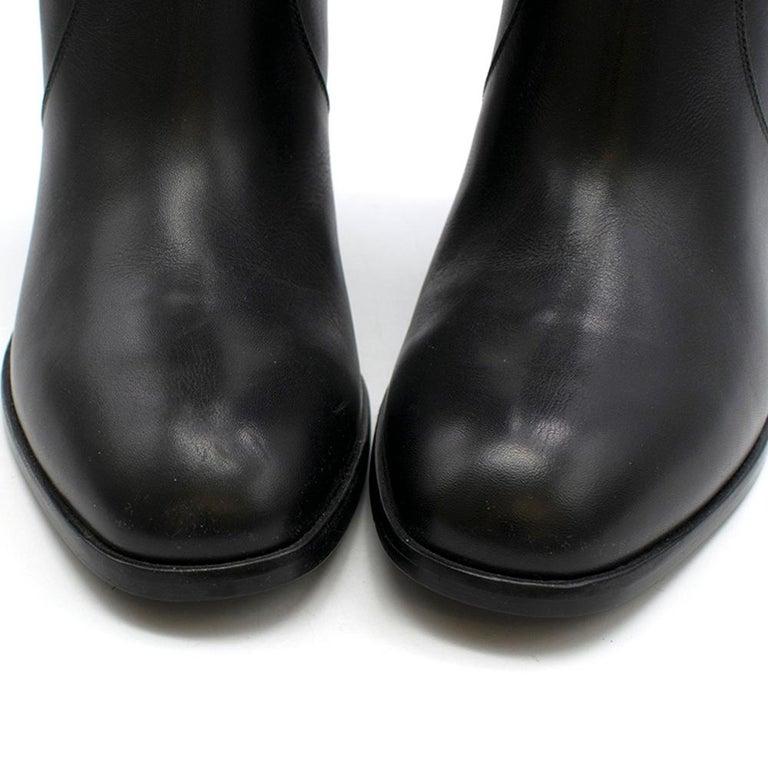 Saint Laurent Black Leather Long Boots w/ Silver Chain Trim For Sale 1