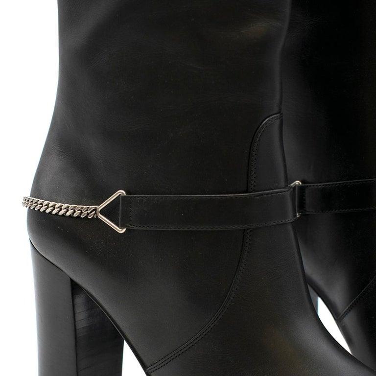 Saint Laurent Black Leather Long Boots w/ Silver Chain Trim For Sale 5