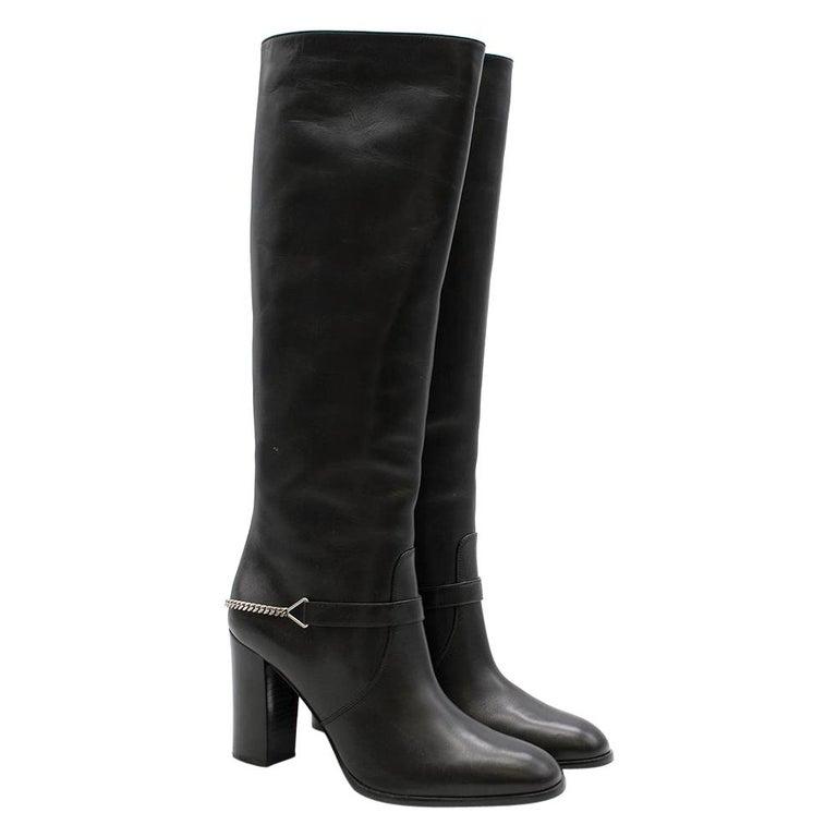 Saint Laurent Black Leather Long Boots w/ Silver Chain Trim For Sale