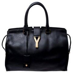Saint Laurent Black Leather Medium Cabas Chyc Tote