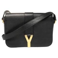 Saint Laurent Black Leather Medium Chyc Flap Bag