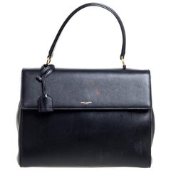 Saint Laurent Black Leather Medium Moujik Top Handle Bag