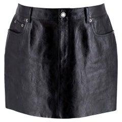 Saint Laurent Black Leather Mini Skirt 40