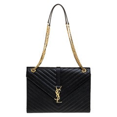 Saint Laurent Black Leather Monogram Envelope Shoulder Bag