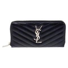 Saint Laurent Black Leather Monogram Zip Around Wallet