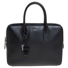 Saint Laurent Black Leather Museum Briefcase