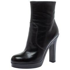 Saint Laurent Black Leather Platform Ankle Boots Size 39