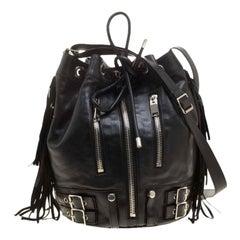 Saint Laurent Black Leather Rider Bucket Bag