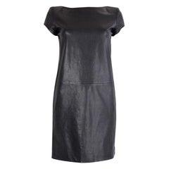 SAINT LAURENT black leather Short Sleeve Shift Dress S