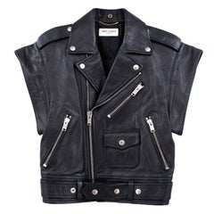 Yves Saint Laurent Black Leather Short Sleeved Jacket