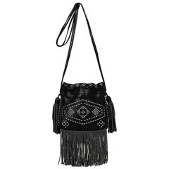 Saint Laurent Black Leather Silver Studded Small Helena Fringed Bucket Bag