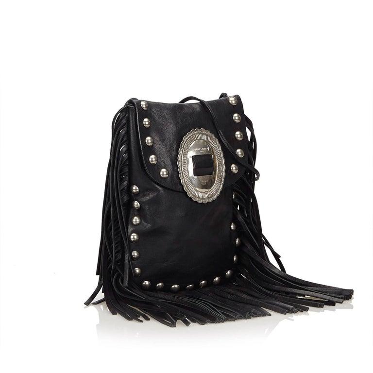 acb8f169292a Saint Laurent Black Leather Silver Toned Studded with Fringe Shoulder Bag  For Sale 1