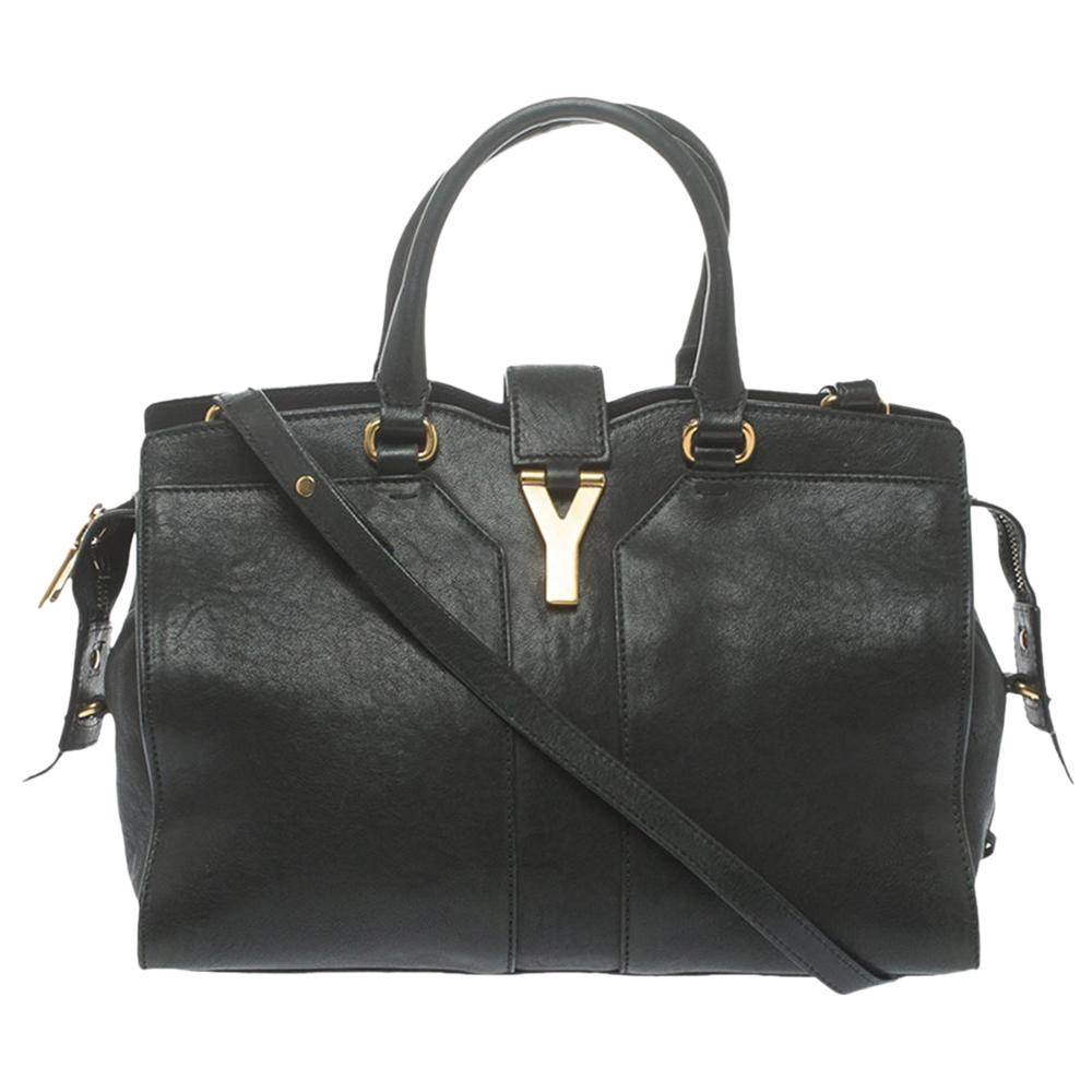 Saint Laurent Black Leather Small Cabas Chyc Tote