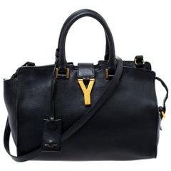 Saint Laurent Black Leather Small Cabas Ligne Y Tote