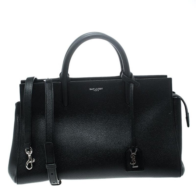 5f9f48764ab6 Saint Laurent Black Leather Small Cabas Rive Gauche Tote For Sale at ...
