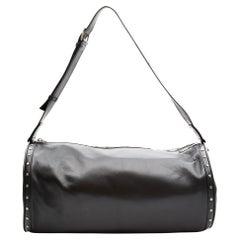 Saint Laurent Black Leather Studded Gym Duffle Bag