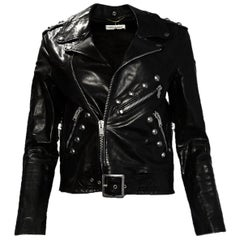 Saint Laurent Black Leather Studded Moto Biker Jacket sz 38