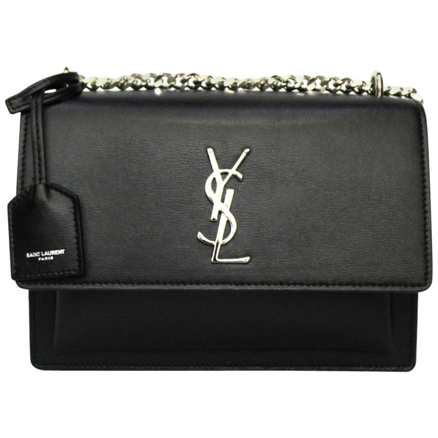 Saint Laurent Black Leather Sunset Bag
