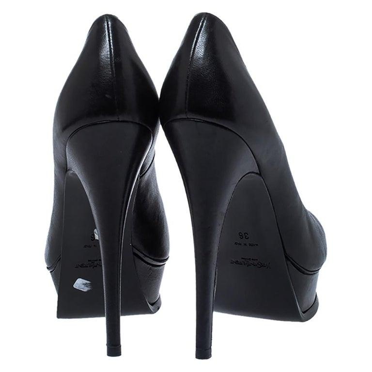 Women's Saint Laurent Black Leather Tribute Pumps Size 36 For Sale