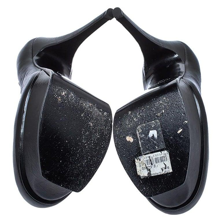 Saint Laurent Black Leather Tribute Pumps Size 36 For Sale 2