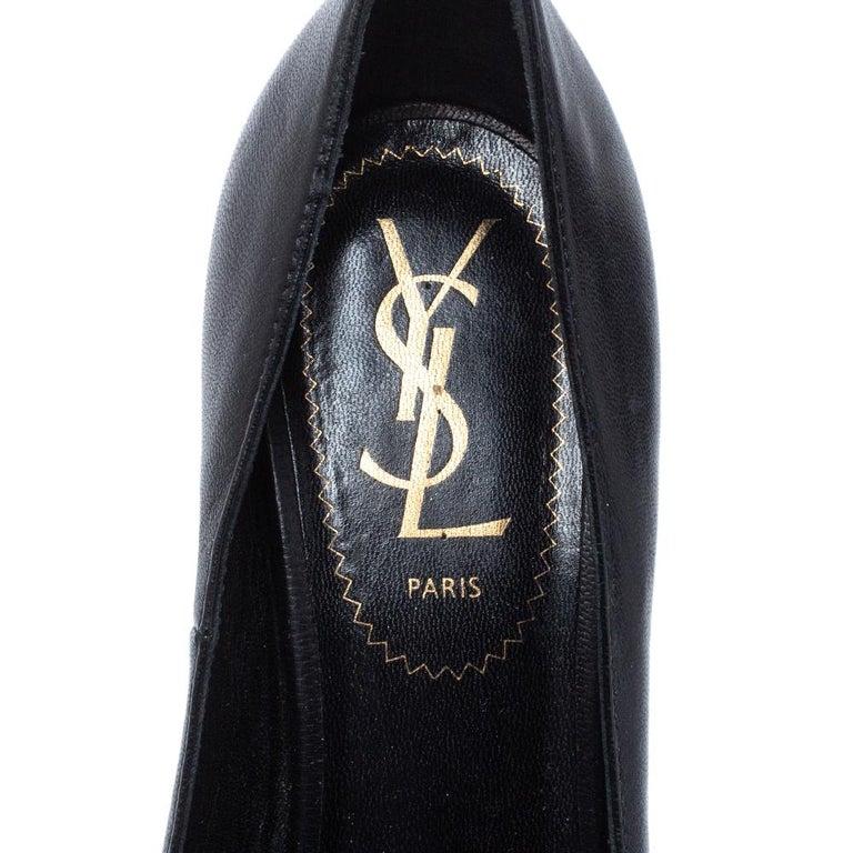 Saint Laurent Black Leather Tribute Pumps Size 36 For Sale 3