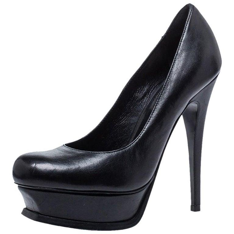 Saint Laurent Black Leather Tribute Pumps Size 36 For Sale