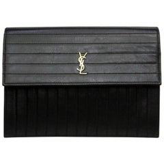 Saint Laurent Black Leather Victoire Crossbody Bag
