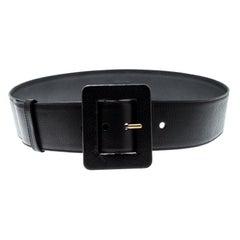 Saint Laurent Black Leather Waist Belt 95cm