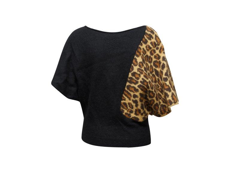 Saint Laurent Black & Leopard Print Dolman Sleeve Sweater For Sale 1