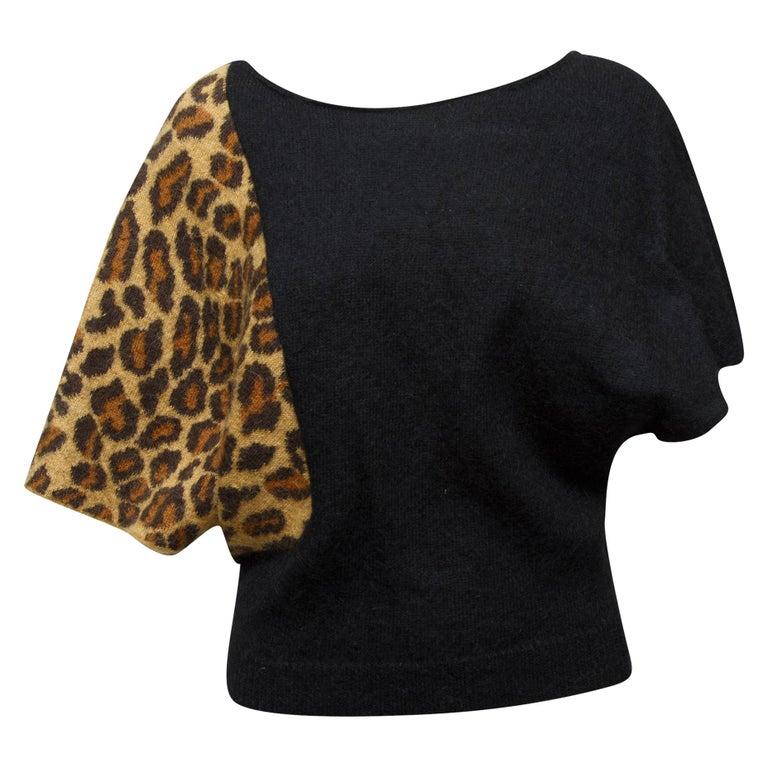 Saint Laurent Black & Leopard Print Dolman Sleeve Sweater For Sale