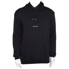 Saint Laurent Black Logo Print Cotton Hooded Sweatshirt L