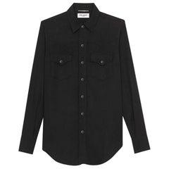 SAINT LAURENT black lyocell WESTERN Button-Up Shirt S