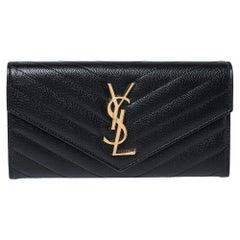 Saint Laurent Black Matelasse Leather Monogram Envelope Wallet