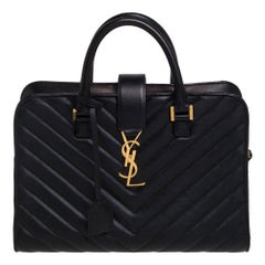 Saint Laurent Black Matelasse Leather Small Monogram Cabas Tote