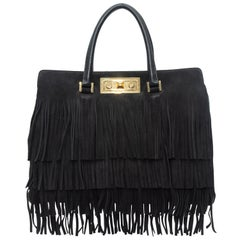 Saint Laurent Black Medium Suede Trois Clous Fringe Bag