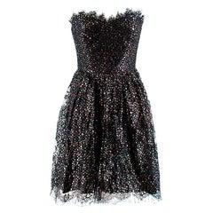 Saint Laurent Black Metallic Stars Lace Trim Strapless Dress - Size US 6