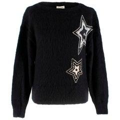 Saint Laurent Black Mohair Star Embellished Jumper S