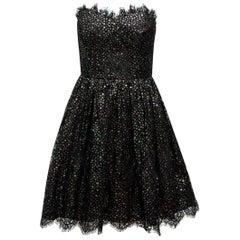Saint Laurent Black & Multicolor Metallic Star Strapless Dress