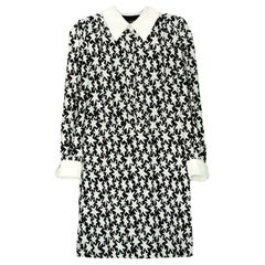Saint Laurent Black/Off-white Star Print Schoolgirl Collar Dress sz 8