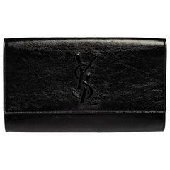 Saint Laurent Black Patent Leather Belle De Jour Clutch